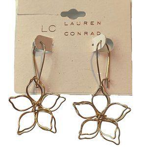Lauren Conrad Gold Wire Flower Dangle Earrings